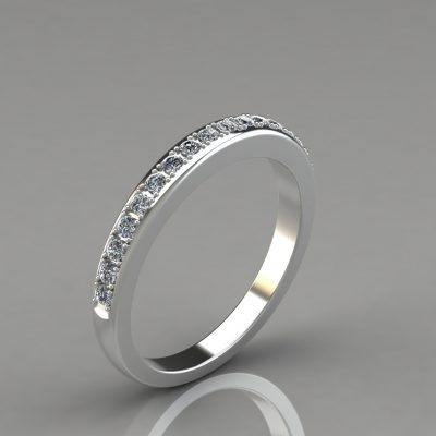 0.24Ct Moissanite Round Cut Wedding Band Ring
