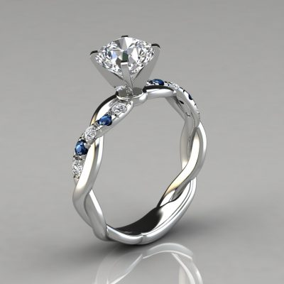 Twist Cushion Cut Blue Sapphire And Moissanite Engagement Ring